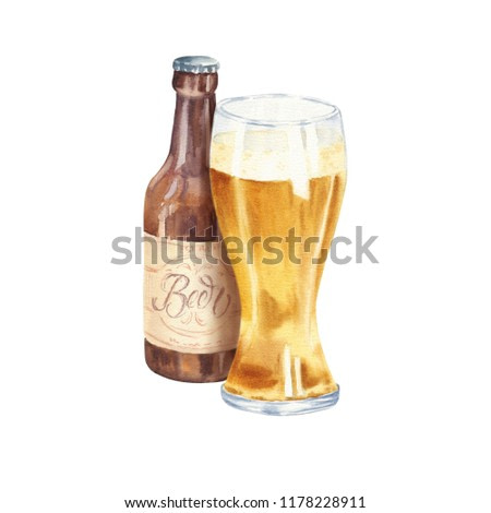 Hand drawn watercolor glass of lager beer with bottle, realistic illustration isolated on white background. Drink composition drawing.
