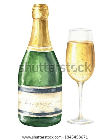 Hand drawn watercolor champagne bottle and glass isolated on white background.