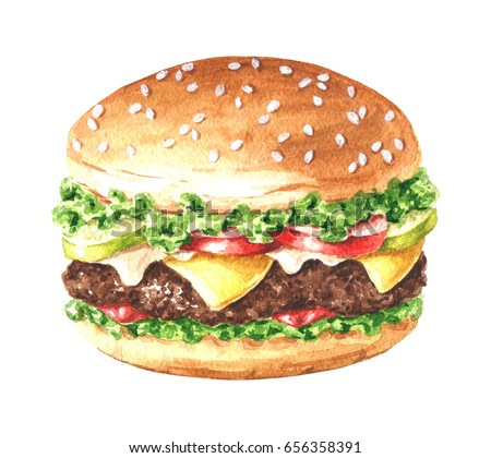 Hand drawn watercolor delicious burger illustration, fastfood isolated on white background.