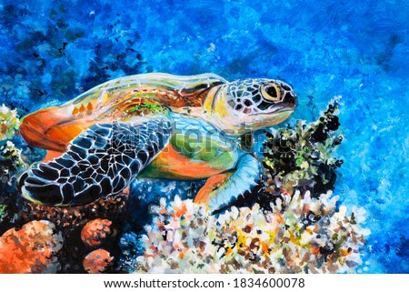 The hawk-beak sea turtle swims among the corrals. Oil painting