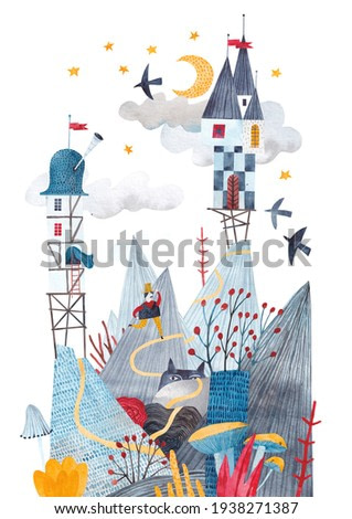 Fantastic mountain landscape. Painting for the children's room. Image with mountains, fairy castles, exotic plants. Watercolor illustration.