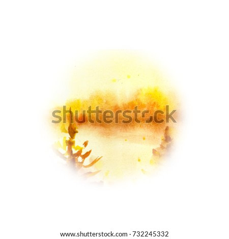 Round yellow forest landscape. Watercolor painting. Hand drawn outdoor illustration. Nature background, watercolor composition. Painted backdrop. Park, trees, sun rays. Sunny day.