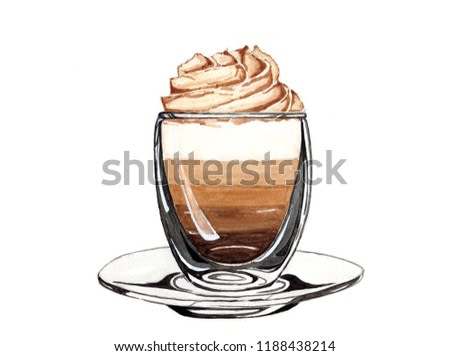 Watercolor drawing hot coffee latte with layers of milk, black coffee, milk foam and whipping cream on top in clear cup with clear plate on white background