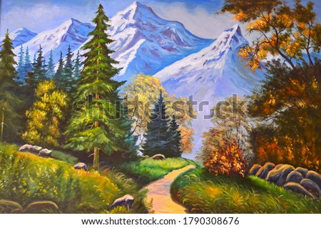 Drawn forest and mountains. Mountain autumn landscape. Original oil painting. Forest path.
