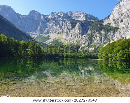 mountain lake in the middle of austrian alps , hinterer langbathsee