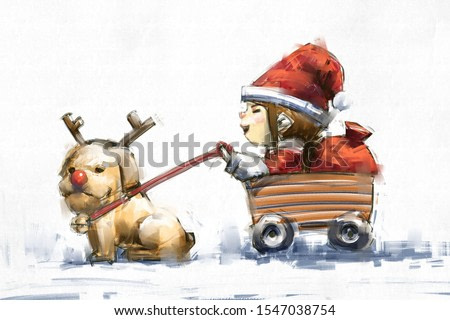 digital art painting of santa girl with dog in reindeer costume, acrylic on canvas texture, storytelling illustration