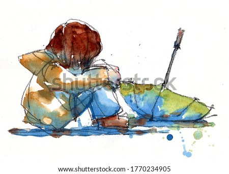 watercolor painting of sad girl itting on the floor in a sweater with a yellow umbrella, hand drawn on paper illustration scanned