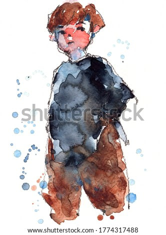 watercolor sketched of cute boy, hand drawn on paper illustration scanned