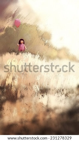 watercolor painting of girl with balloon in the summer outdoor, digital painting