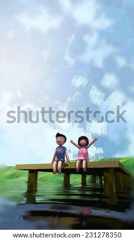 watercolor painting of boy and girl on the waterfront, digital painting
