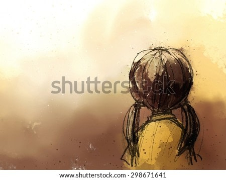 digital painting of cute girl backside, watercolor on paper texture