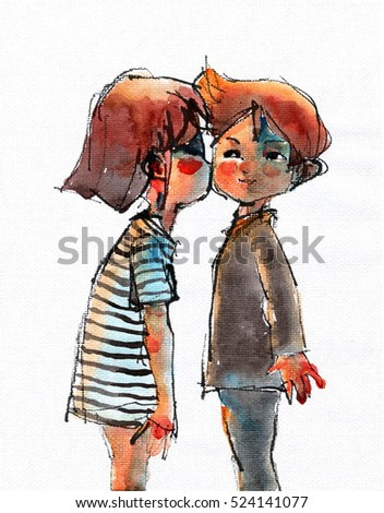 watercolor illustration of Kiss the girl and the boy, handmade traditional artwork scanned