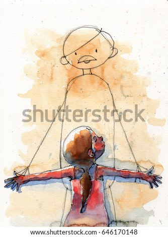 watercolor illustration of girl hugging daddy cartoon image on the wall, handmade traditional artwork scanned