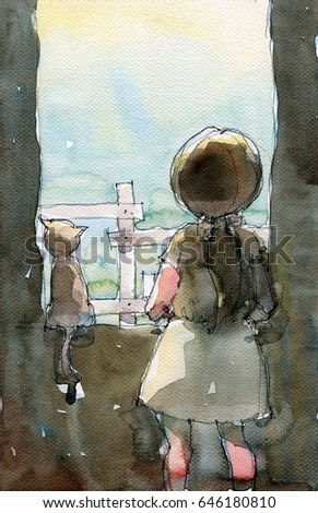 watercolor illustration of girl with her cat standing at opened window, handmade traditional artwork scanned