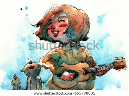 watercolor illustration of girl playing small guitar and singing with kitten and mousy, handmade artwork scanned