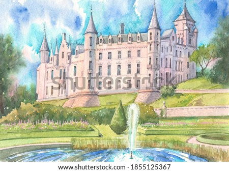 Dunrobin Castle, garden and fountain on a summer day are painted with watercolors on paper. Dunrobin Castle in Sutherland, Scotland.