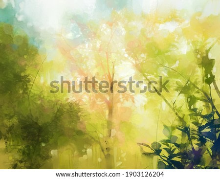 Illustration soft colorful forest and sky. Abstract spring season, outdoor landscape with yellow and green leaf on tree. Nature painting pastel design with watercolor paint. Modern art for background