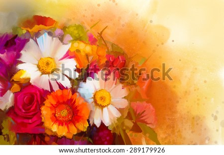 Closeup Still life of white, yellow and red color flowers .Oil painting a bouquet of rose,daisy and gerbera flowers with soft red and yellow color background. Hand Painted floral Impressionist style