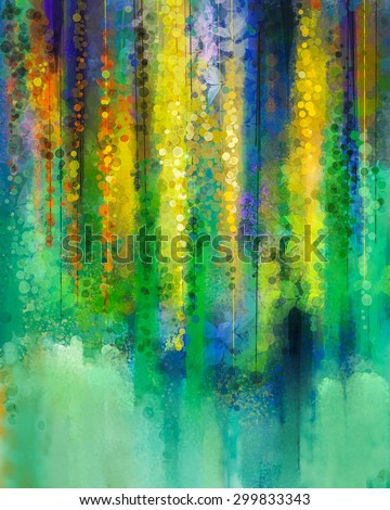Abstract  yellow color flowers. Watercolor painting. Spring yellow flowers Wisteria tree in blossom with bokeh over green color background.