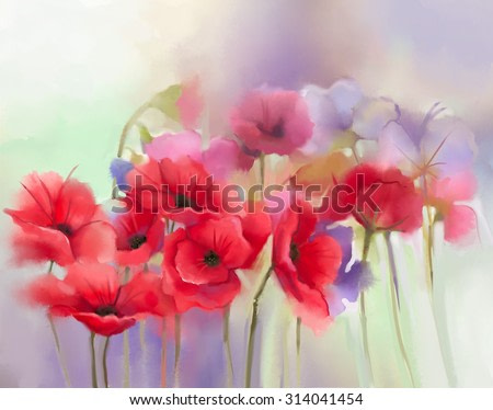 Watercolor red poppy flowers painting. Flower paint in soft color and blur style, Soft green and purple background. Spring floral seasonal nature background