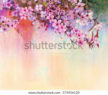 Watercolor Painting Cherry blossoms - Japanese cherry - Pink Sakura floral in soft color over blurred nature background. Spring flower seasonal nature background