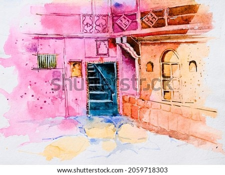 Watercolur painting of an old home with classic, vintage architecture of Rajasthan with a staircase behind the open door. Hand painted illustration of home.
