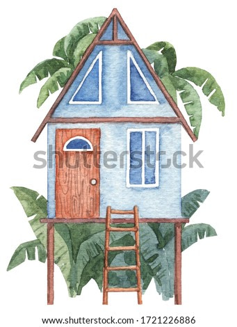 Tiny tropical house on piles with ladder. Bungalow in the rainforest with palm trees. Hand painted watercolor illustration