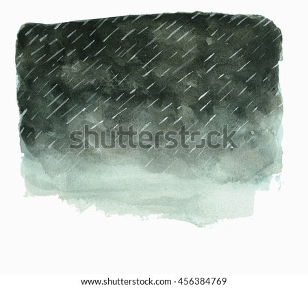 dark storm clouds with rain painting in watercolor