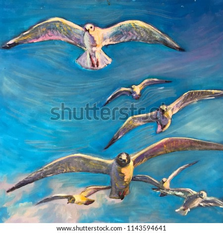 Large white birds fly across the sky, wide open wings. A sea gull flies past a blue sky above the water. Symbol of freedom peace in the world. Realistic art painting of artist draw oil strokes texture