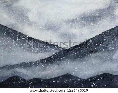 watercolor painting ink asian art mountains covered snow fall with fog in winter season.