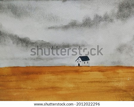 Watercolor painting house landscape countryside in the field.