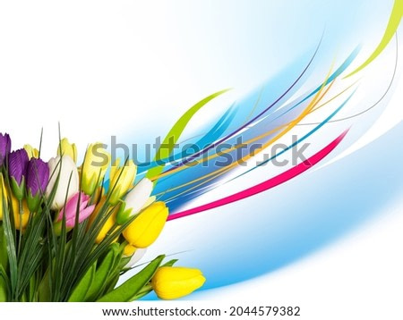 Beautiful colored fresh flowers and watercolor splash