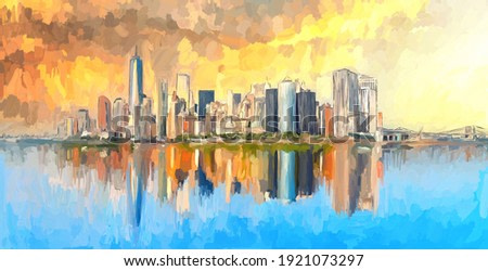 Aabstract oil painting New York City skyline with reflection effect on the water