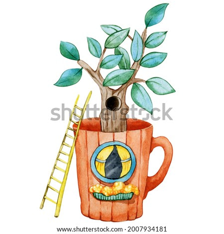 Cartoon tea mug with windows, stairs and tree. Hand drawn watercolor illustration isolated on white background. Cozy home, tea party, ceremony, kitchen utensils