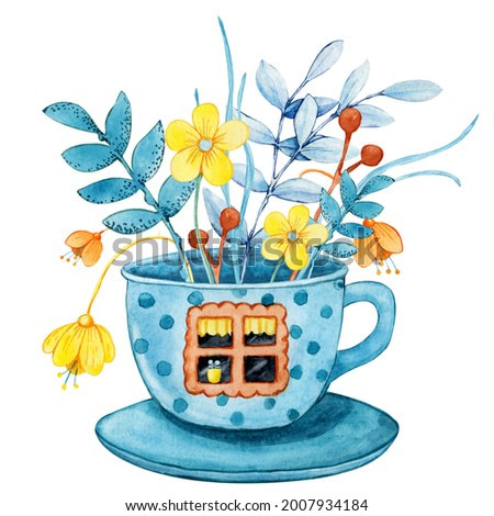 Tea house in the garden with flowers, cartoon cup with windows and doors. Hand drawn watercolor illustration isolated on white background. Cozy home, tea party, ceremony, kitchen utensils