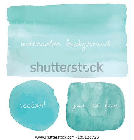 Teal Blue Ombre Watercolor Vector Background.