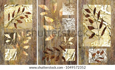 A collection of designer paintings painted in oil. Decoration for the interior. Modern abstract art on canvas. Painted painting with different textures and colors.