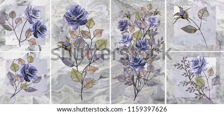 Collection of designer oil paintings. Decoration for the interior. Modern abstract art on canvas. Set of patterns with different textures and colors. Blue roses on grey background.