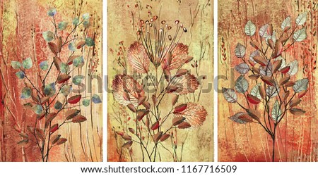 Collection of designer oil paintings. Decoration for the interior. Modern abstract art on canvas. Set of patterns with different textures and colors. Colorful leaves.