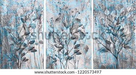 Collection of designer oil paintings. Decoration for the interior. Modern abstract art on canvas. Set of pictures with different textures and colors. Gray-blue.