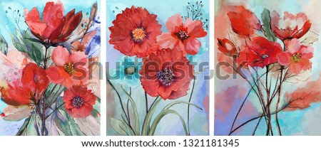 Collection of designer oil paintings. Decoration for the interior. Modern abstract art on canvas. Set of paintings with watercolor red flowers.