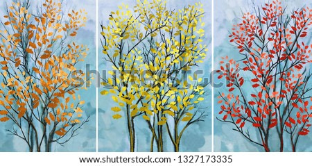 Collection of oil paintings. Decoration for the interior. Modern abstract art on canvas. Set of pictures. Tree with red leaves.