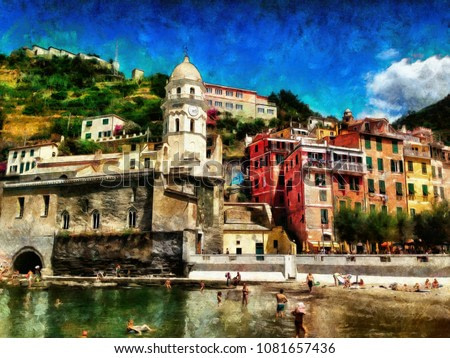 View of Vernazza, Italy. Large size watercolor painting contemporary pictorial art. Modern drawing fine artwork. Creative artistic print for canvas or textile. Wallpaper, poster or postcard design.