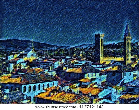 Cityscape view of Florence, tourism in Italy. Italian city old architecture. Big size oil painting fine art. Van Gogh style impressionism drawing artwork. Creative artistic print for canvas or poster.