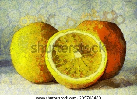 Oil painting oranges fruits on white