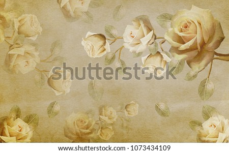 Chinese rose in the background. Wall murals. 3D rendering.