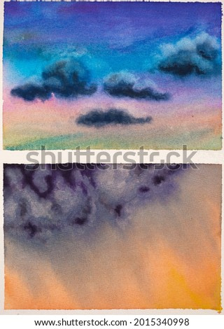 A peaceful blue sky with dark clouds and a stormy raining sky on dusk. Two watercolor studies of cloudscapes in a sketchbook, hand drawn with aquarelle paints. Plain-air painting.