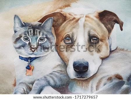 Cat and dog watercolor painting
