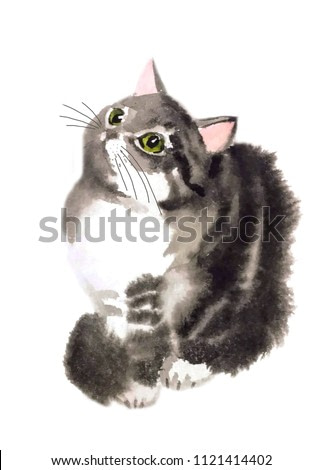 cute fluffy expressive striped cat asks for something, looks up with green shiny eyes, isolated on white, watercolor painting