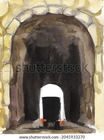 Old style drawing. High stone road tunnel with a dark arch. In the tunnel, the silhouette of a large truck with its headlights on. Hand drawn background watercolor illustration.